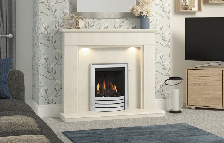 """48"""" or 52″ Madalyn Surround in White Micro Marble"""