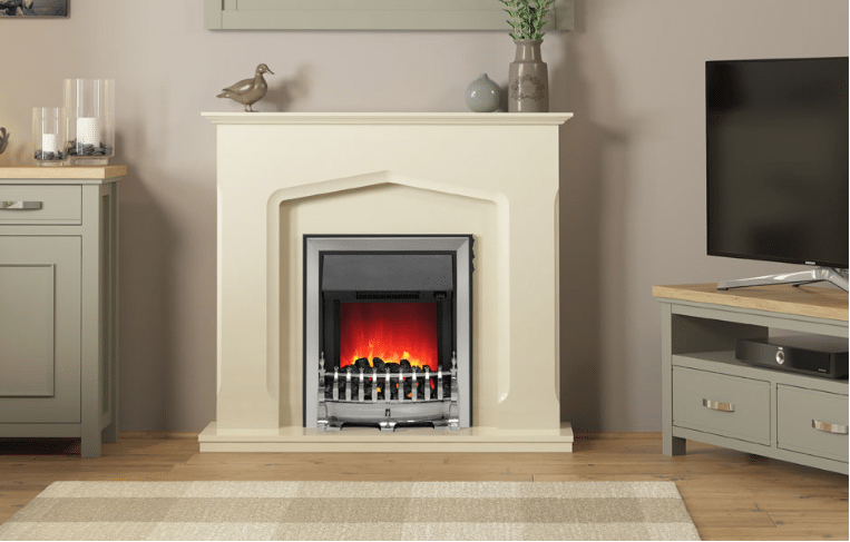"""45"""" Bramwell electric fireplace in Marfil marble effect"""