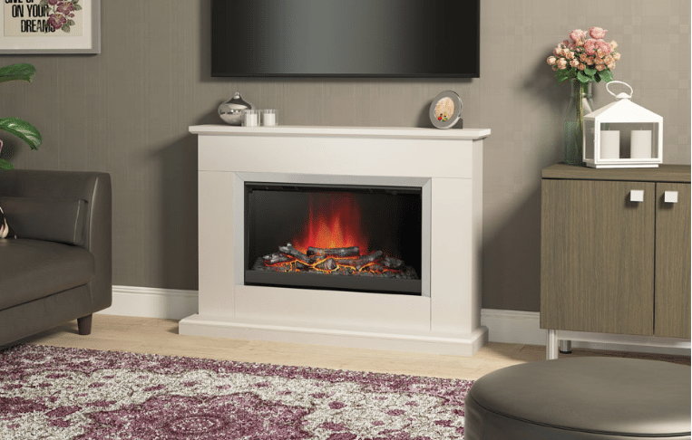 """46"""" Hansford electric fireplace in Pearlescent Cashmere painted finish"""