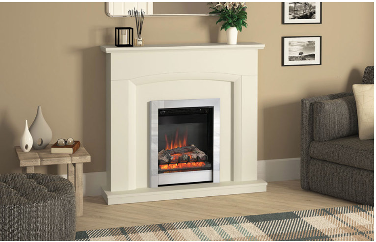"""46"""" Hayden electric fireplace in Soft White finish"""