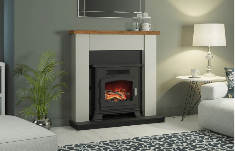 """42"""" Ravensdale electric fireplace in Stone finish with a Country Oak top"""