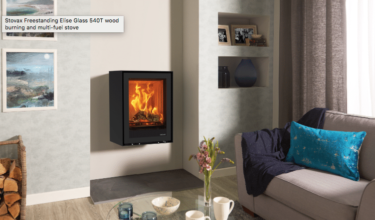 Freestanding Elise 540T Wall Mounted Wood Burning & Multi-fuel Stoves